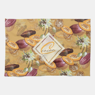 Cocoa Beans, Chocolate Flowers, Nature's Gifts Tea Towel