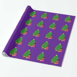 Cocoa Cuties Purple Christmas Wrapping Paper