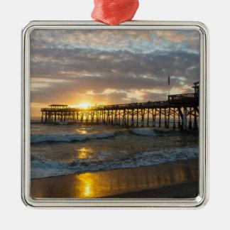 Cocoa Pier 1st Sunrise 2017 Silver-Colored Square Decoration