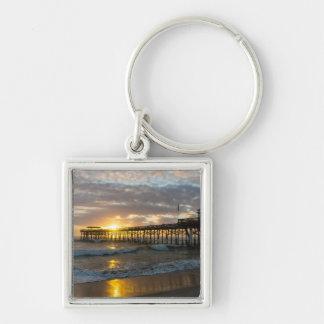 Cocoa Pier 1st Sunrise 2017 Silver-Colored Square Key Ring