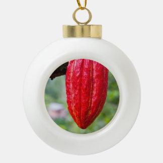 cocoa pod red ceramic ball christmas ornament