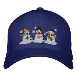 Cocoa Snowmen Embroidered Hat