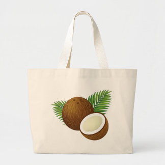 Coconut Cartoon Large Tote Bag