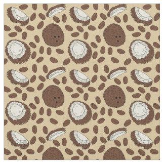 Coconut Coffee Bean Pattern Brown Tan Cream Fabric
