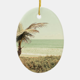 Coconut Palm and Pastel Beach Photography Ceramic Oval Decoration