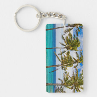 Coconut palm trees (Cocos nucifera) swaying in Double-Sided Rectangular Acrylic Key Ring