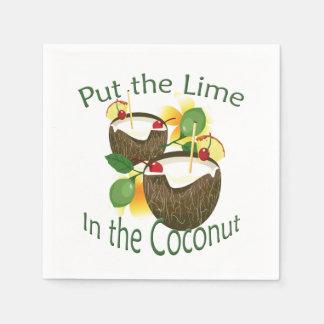 Coconut Tiki Bar Cocktail Paper Napkin