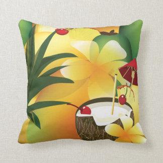 Coconut Tiki Bar Luau Tropical Pillow