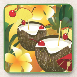 Coconut Tiki Bar Luau Tropical Plastic Coaster