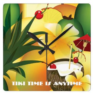 Coconut Tiki Time Bar Luau Tropical Clock