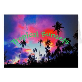 Coconut Tree Tropical Island Sunset Card