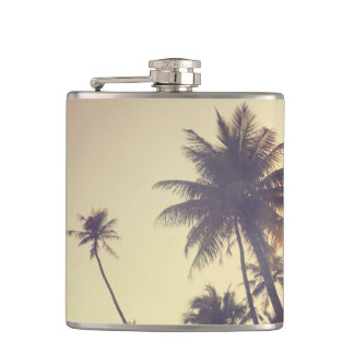 Coconut Trees Trendy Hipster Desaturated Summer Flask