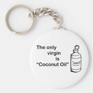 Coconut Virgin Oil Basic Round Button Key Ring