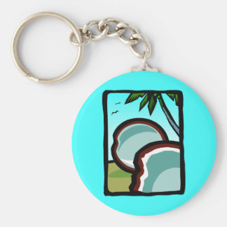 Coconuts and Palms Basic Round Button Key Ring