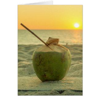 Coconuts at sunset on Bang Tao beach, Phuket Card
