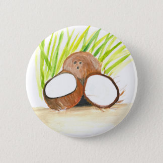 Coconuts fruits watercolour 6 cm round badge