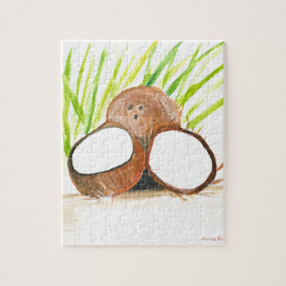 Coconuts fruits watercolour jigsaw puzzle