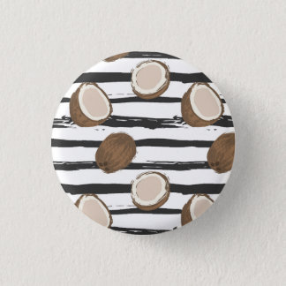 Coconuts on Grunge Stripes Pattern 3 Cm Round Badge