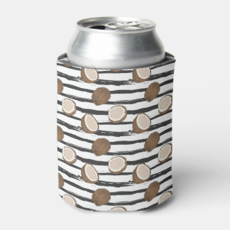 Coconuts on Grunge Stripes Pattern Can Cooler