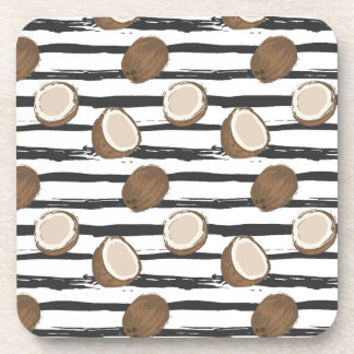 Coconuts on Grunge Stripes Pattern Coaster