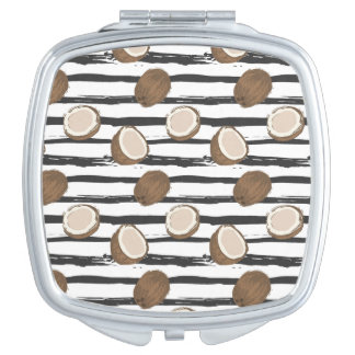 Coconuts on Grunge Stripes Pattern Compact Mirror