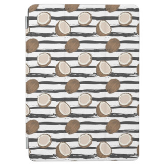 Coconuts on Grunge Stripes Pattern iPad Air Cover