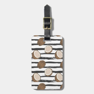 Coconuts on Grunge Stripes Pattern Luggage Tag