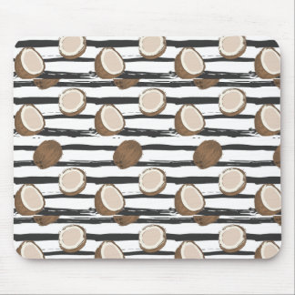 Coconuts on Grunge Stripes Pattern Mouse Pad