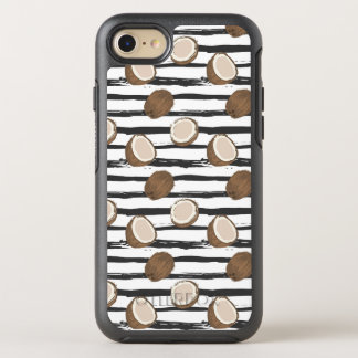 Coconuts on Grunge Stripes Pattern OtterBox Symmetry iPhone 8/7 Case