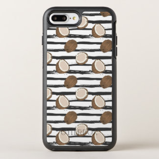 Coconuts on Grunge Stripes Pattern OtterBox Symmetry iPhone 8 Plus/7 Plus Case