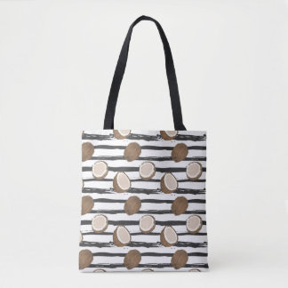 Coconuts on Grunge Stripes Pattern Tote Bag