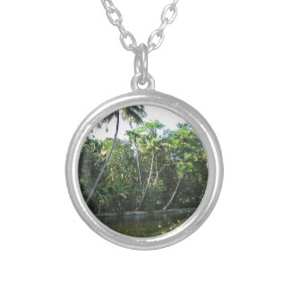 Cocunut and other trees near the saltwater lagoon personalized necklace