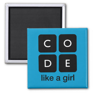Code Like a Girl Square Magnet