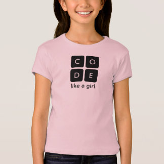 """Code.org """"Code Like a Girl"""" Kid's T-shirt"""