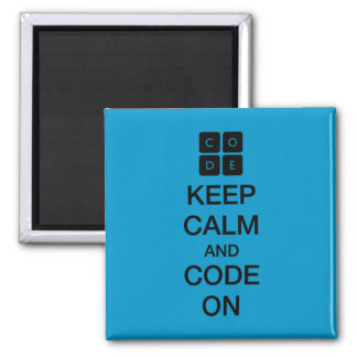 "Code.org ""Keep Calm and Code On"" Square Magnet"