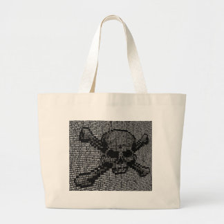 Code Skull and Crossbones Piracy Concept Large Tote Bag