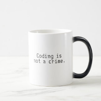 """Coding is not a crime"" color changing mug"