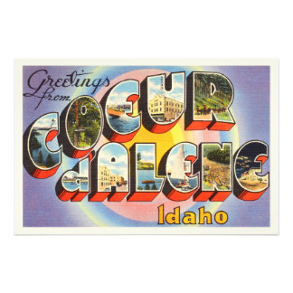 Coeur d'Alene Idaho ID Old Vintage Travel Souvenir Art Photo