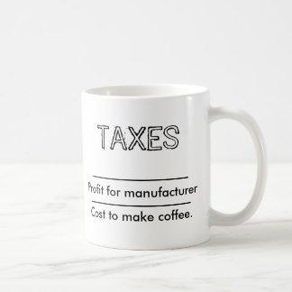 Coffe and taxes basic white mug