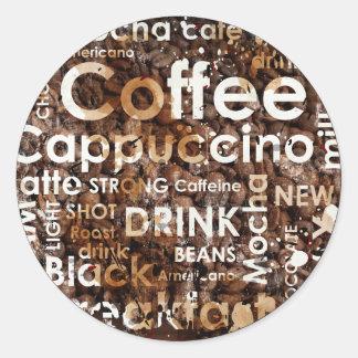 Coffee 3 Round Sticker, Large, 3 inch (sheet of 6) Classic Round Sticker