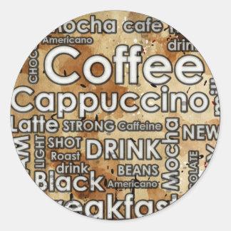 Coffee 4 Sticker, Glossy,  3 inch (sheet of 6) Classic Round Sticker