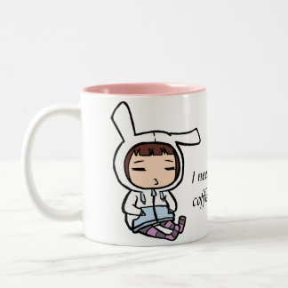 Coffee addicted bunny Two-Tone coffee mug