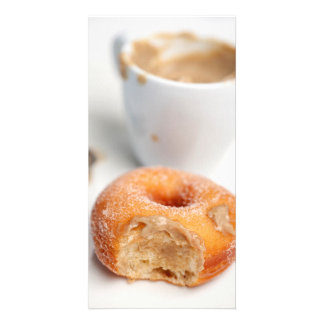 Coffee and a donut for breakfast. picture card