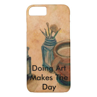 Coffee and Art Painting Brushes Artists Gifts iPhone 8/7 Case