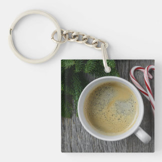 Coffee and Candy Cane for the Holidays Single-Sided Square Acrylic Key Ring