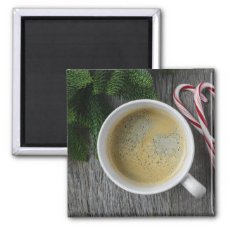 Coffee and Candy Cane for the Holidays Square Magnet