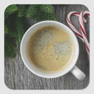 Coffee and Candy Cane for the Holidays Square Sticker
