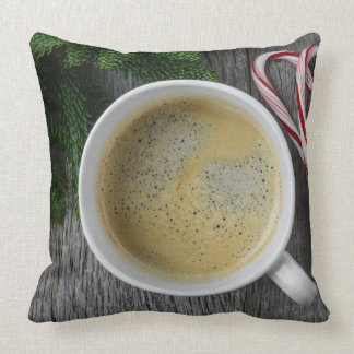 Coffee and Candy Cane for the Holidays Throw Pillow