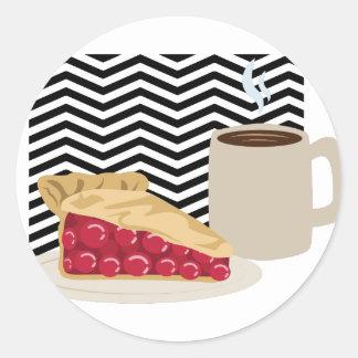 Coffee And Cherry Pie Classic Round Sticker