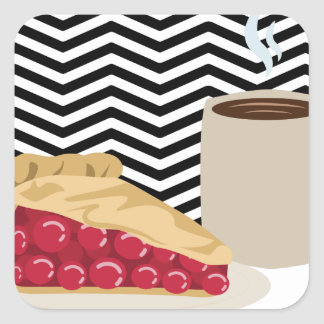 Coffee And Cherry Pie Square Sticker